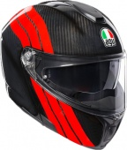 AGV Мотошлем Sportmodular e05 multi plk, stripes carbon/red