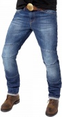 Мотоджинсы Starks Pythone slim fit стрейч, синие с потертостями