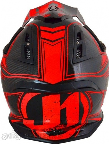Just1 мотошлем J12 Carbon fluo, red