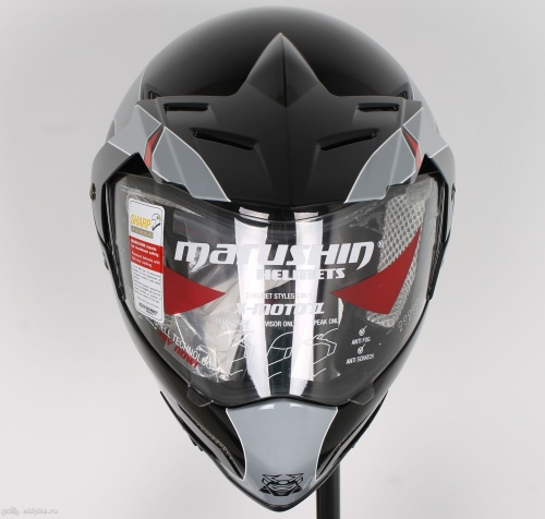 Шлем Marushin X-Moto 2 Stripes, black/grey/red